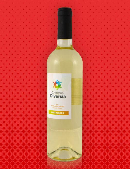 Botella de vino blanco solidaria