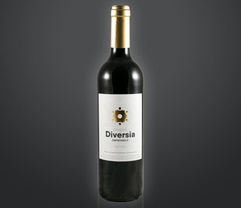 Botella de vino tinto ecológico solidaria de amica - D.O. Utiel-Requena